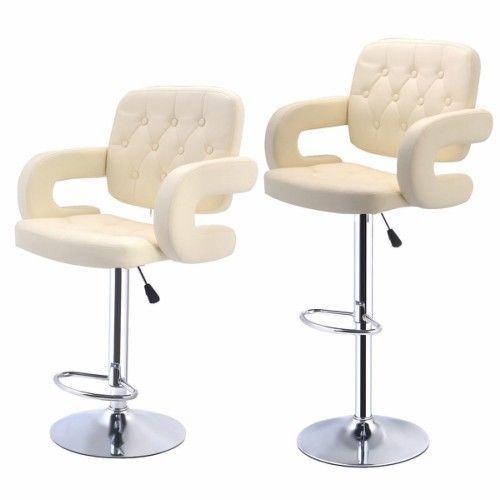 Faux Leather Kitchen Breakfast Bar Stools 2 Cream White Swivel Dining Chairs New #Goplus #ModernContemporary
