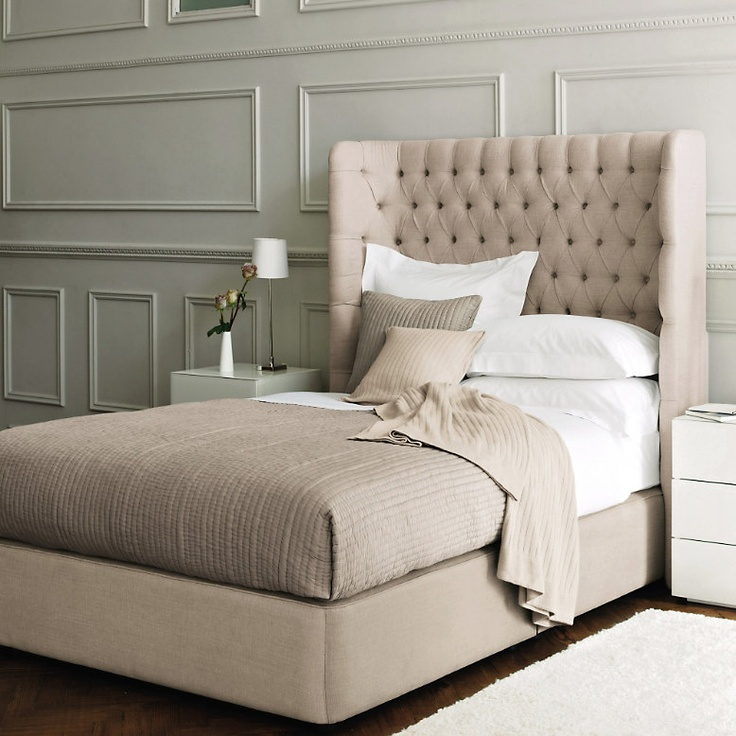 divine deep buttoned headboard of the Belgravia Bed | The White Company