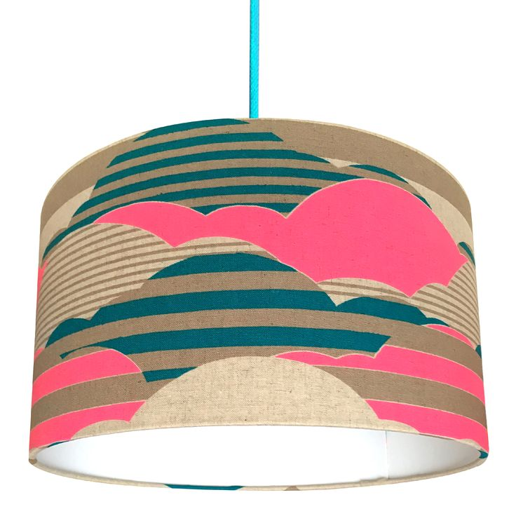 Neon Clouds Lampshade in Japanese Linen