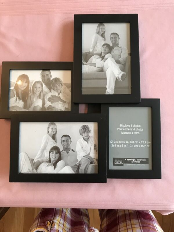 Details About Studio Decor Black Frame 4 Photo Two 3 5 X5 Two 4 X6 In 2020 Black Decor Studio Decor Frame