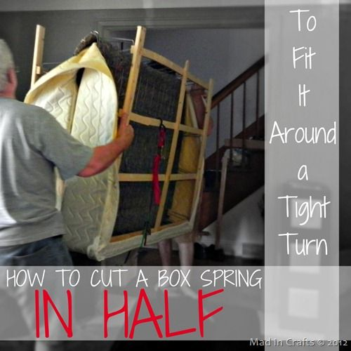On our big moving day, we had about 7 adults working to get everything from the old house to The Mad House. Since it was a really short move, that was plenty of people. We really only ran into one problem: our queen sized box spring. That sucker was just not going to fit up …