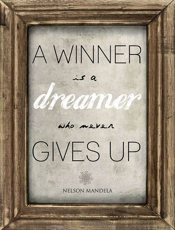 Nelson Mandela quote about WINNERS.  Printed on A3 or A4 by ARTfromSouthAfrica, $27.00 (Frame not included)