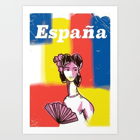 Collect your choice of gallery quality Giclée, or fine art prints custom trimmed by hand in a variety of sizes with a white border for framing. SHOP HERE! https://society6.com/product/espaa-spanish-vintage-travel-poster_print?curator=wellglow