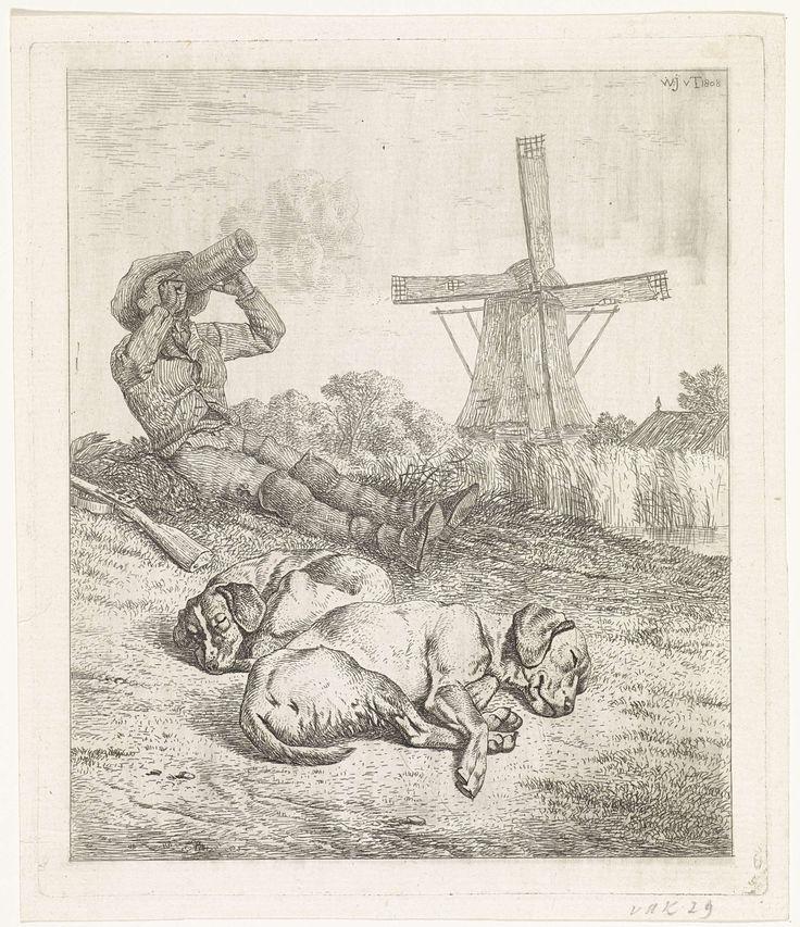Wouter Johannes van Troostwijk   Rustende jager met slapende honden, Wouter Johannes van Troostwijk, 1808   Rustende jager met slapende honden. Op de achtergrond een windmolen.