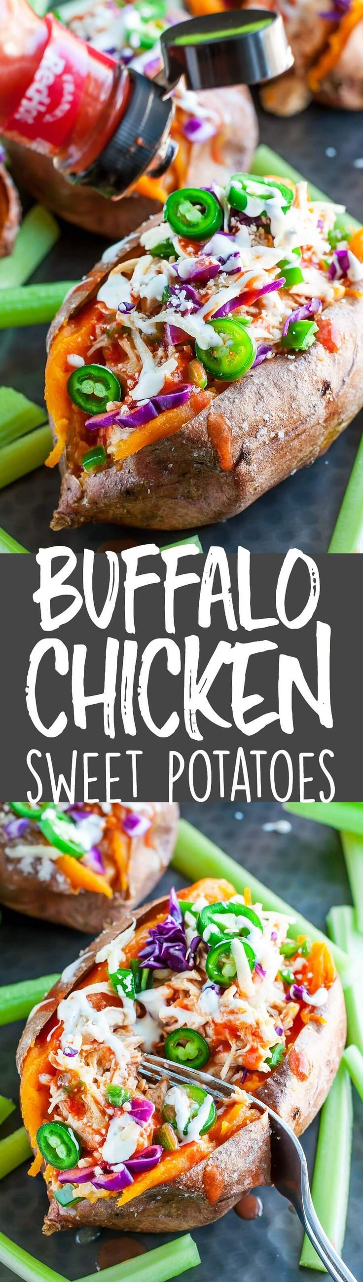 Easy, cheesy, and insanely delicious, these gluten-free Buffalo Chicken Stuffed Sweet Potatoes make a fantastic meal any day of the week!