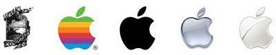 Le logo de la marque représente la pomme de Newton. Le logo est considéré (à juste titre) comme trop difficile à comprendre, il est remplacé par la pomme croquée. En 1977 elle est colorée pour plus de fun et 20 ans plus tard elle est chromée pour faire passer une image plus High Tech.