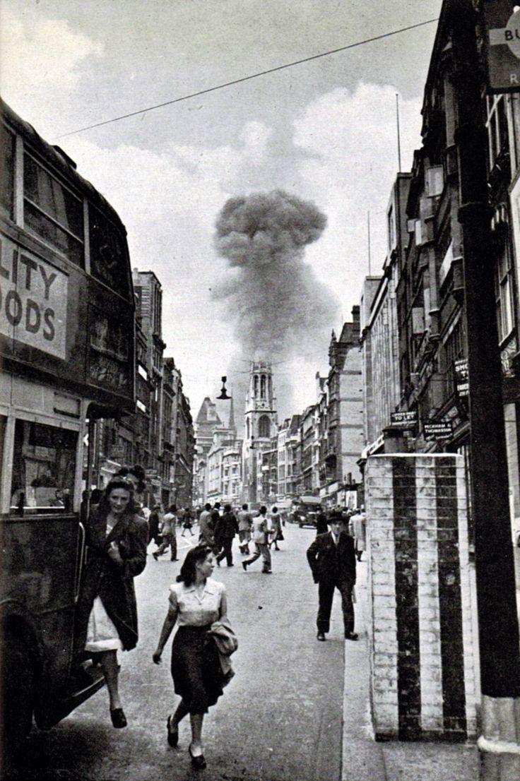 A V-1 flying bomb lands in a street off Drury Lane, London 1944 [736 × 1106]
