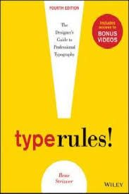 Type Rules : The Designer's Guide to Professional Typography Strizver, I. (2013). Type Rules : The Designer's Guide to Professional Typography (4th Edition). Somerset, NJ, USA: John Wiley & Sons. Retrieved from http://www.ebrary.comhttp://ezproxy.saeaustralia.edu.au:2051/lib/saesg/reader.action?docID=10780754