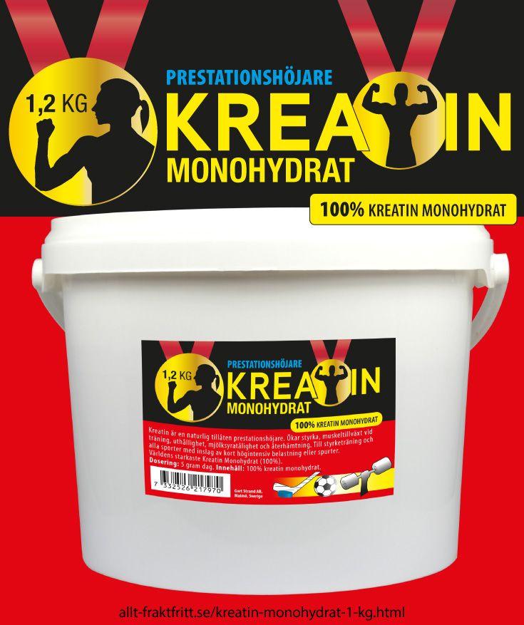 Kreatin monohydrat 1,2 kg - Kreatin monohydrat. Ofarligt, lagligt, billigt kosttillskott för snabbare muskelstyka. Ökar prestationsförmågan vid alla sporter med upprepade repititioner - som styrketräning. Ej doping.
