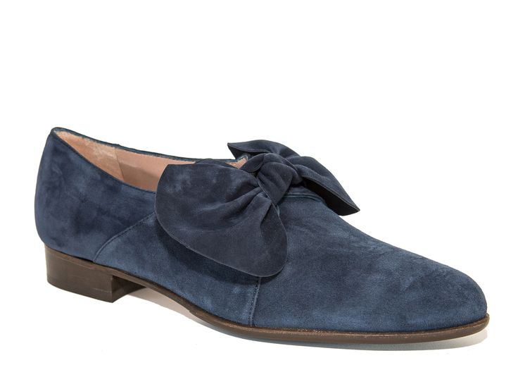 QuoQue women's blue suede loafers with big bow - Italian Boutique €165
