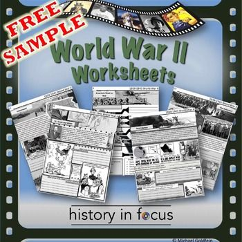 World War II Worksheets Freebie!These sample pages from my World War II Bundle provide an example of the visually engaging worksheets contained in the full set that covers every major area of that historical event.How to get TPT credit to use on future purchases: Please go to your My Purchases page (you may need to login).