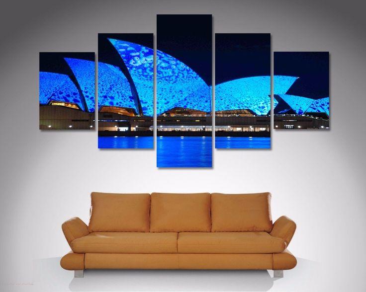Blue Sydney Opera House 5 Piece Diamond Shaped Wall Art U2013 Dunn Furniture