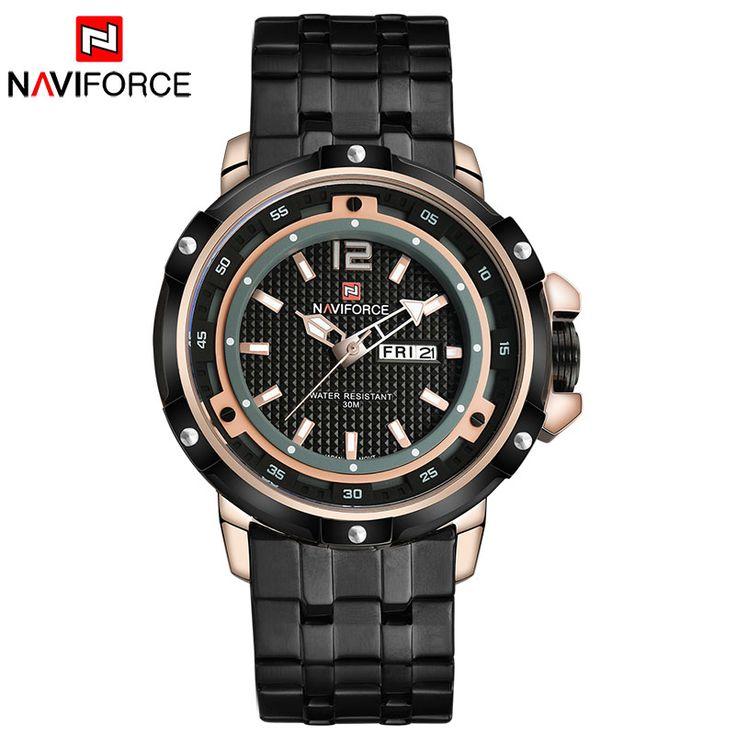 Homens relógios desportivos NAVIFORCE homens de marca de luxo de quartzo relógio de aço banda quente relógios para homens 30M impermeável relogio masculino