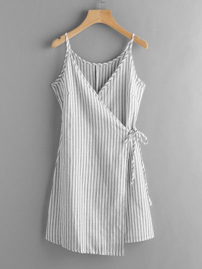 Vertical Striped Wrap Cami Dress  Women's Tops Great Deals For Latest Women Blouse , T-Shirts,Halter Tops & More! Spring Summer Clothing New Styles Just Arrived,More Sizes in One Store, free shipping!