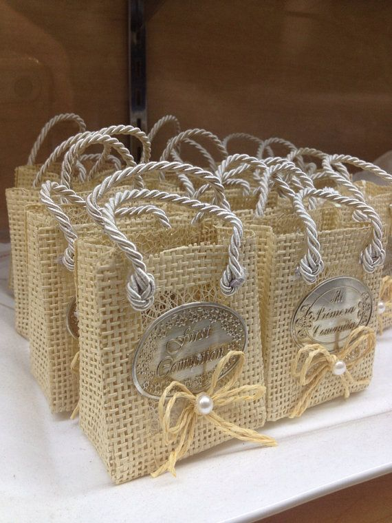 First Communion Burlap Favor Bags W/Wine & Bread