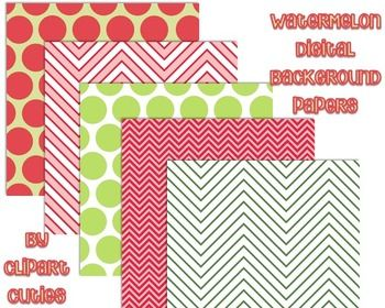 This freebie includes 5 free digital papers from our Watermelon Themed Digital Background Papers.  If you like these, please check out the entire pack for just $2.00!The big pack includes background papers of pinks and greens will make a splash in your scrapbook or on your TpT products!
