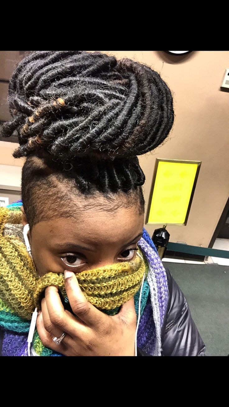 Faux Locs Big Bun Shaved Side Hairstyles Faux Locs