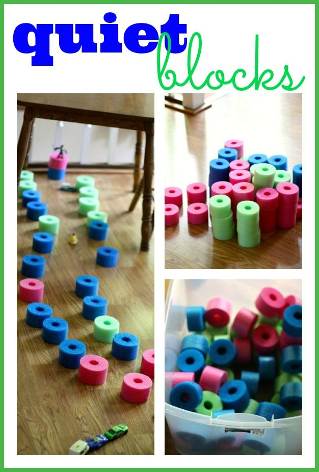 DIY Quiet Blocks. Another way to utilize pool noodles–making them into quiet blocks! Let your child begin building and engaging in some imaginative play!