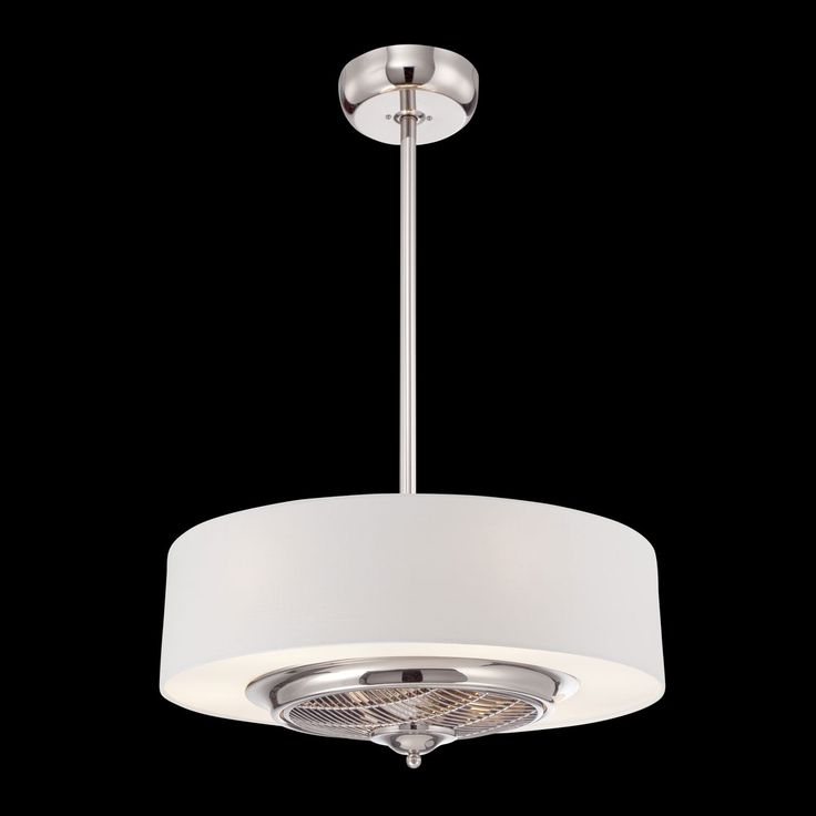 Eurofase elgin collection chandelier with fan cream fabric shade and combination light ceiling fan in polished chrome