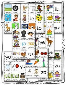 Posters Y Tarjetas Sílabas Iniciales En Palabras Con Ll Qu Y Z Bundle Word Cards Poster Cards