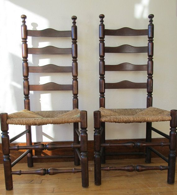 Quality Furniture Companies: Pair Of Antique Ladder Back Chairs Circa Late 1800s Made