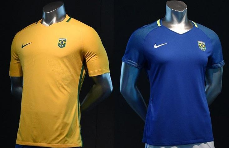 The Brazilian federation has unveiled the official home and away kits to be worn by the country's soccer team at the 2016 Olympics - and they're…
