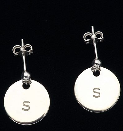 Petal Earrings with 1 stamped letter on each http://www.citrussilver.com