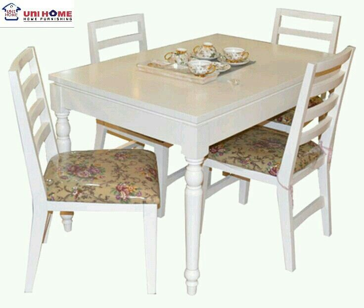 Another beautiful dining set in white! The Dining Set is perfect for an English, shabby chic, modern vintage home. Available in limited quantities at #unihomefurniture #diningset  CODE: DT-166 (4 CHAIR)