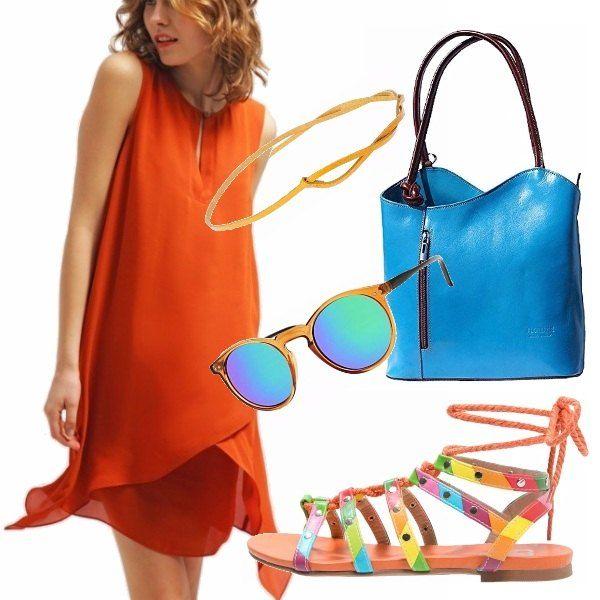 Mix di colori vivaci per un outfit che urla Estateee! Abito arancione, borsa celeste e cintura gialla, scarpe multicolor e occhiali specchiati, tutti a riprendere il colore del sole e del mare!