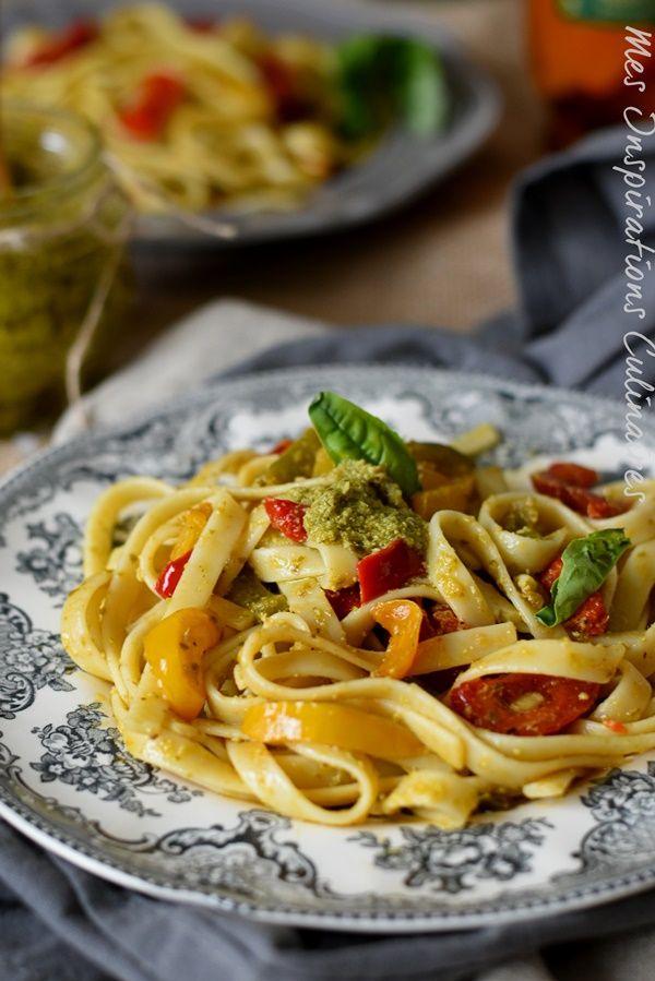 Spaghetti au pesto et aux légumes