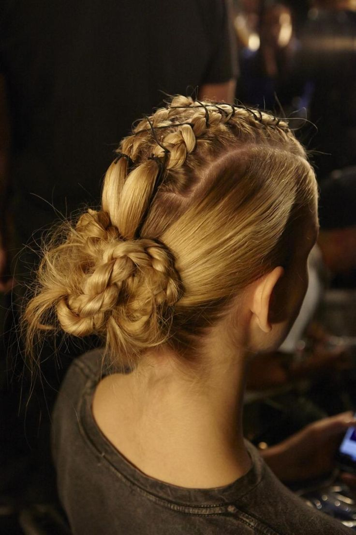 Amit Abraham of L'Oreal Professionnel tied and twisted the models' hair into warrior braids at Bibhu Mohapatra spring 2015.