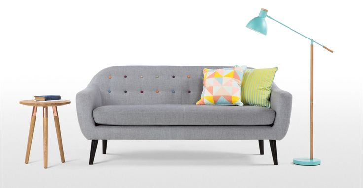 Ritchie 3-Seater Sofa, Pearl Grey with Rainbow Buttons | made.com