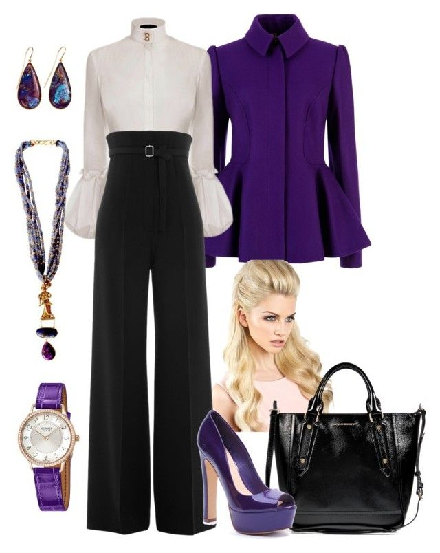 """""""Fall Purple/Black"""" by manda3482 ❤ liked on Polyvore featuring Giulia Colussi, Ted Baker, Alexander McQueen, CÉLINE, Burberry, Xanthe Marina and Hermès"""