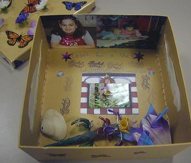 Als er iemand overleden is,laat dan een kind een herinneringen doos/kist/koffer maken. hier kunnen ze van alles instoppen.