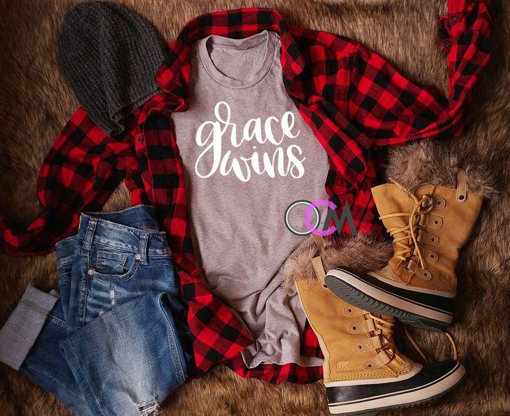 Grace Wins Shirt, Ladies Christian Shirt, Ladies faith shirt, Jesus Shirt -Tshirt