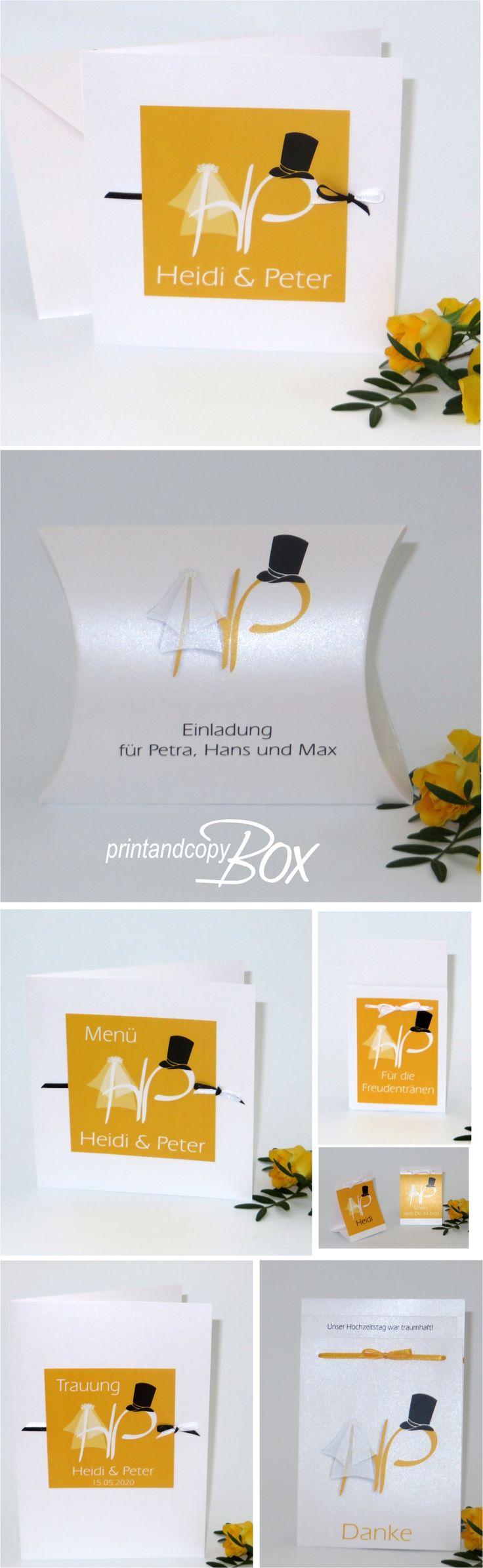 Kreative Hochzeitskarten mit Initialen und einem Schleier und Hut. #kreativ #hochzeitskarten #gelb #initialen  #schleier #hut