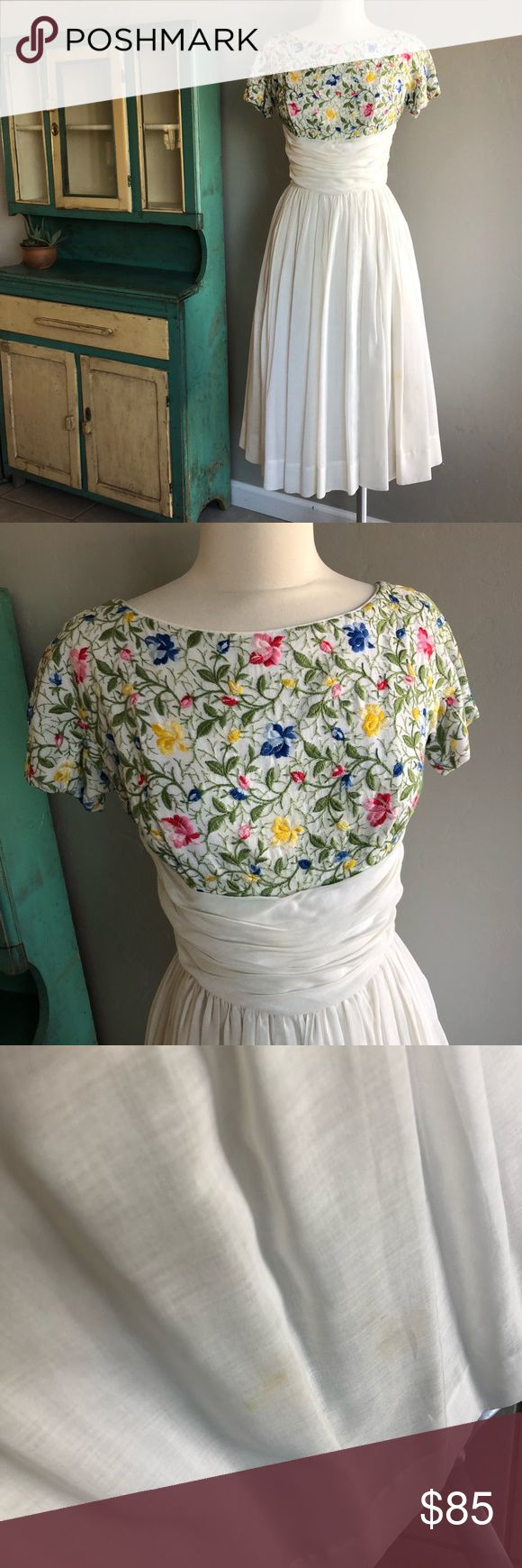 50's Floral Embroidered Linen Dress 1950's Bright Floral Embroidered Linen, Cotton, and Voile, Skirt. Does have small stain as seen in pic.  size: small Maggi Stover Dresses Midi