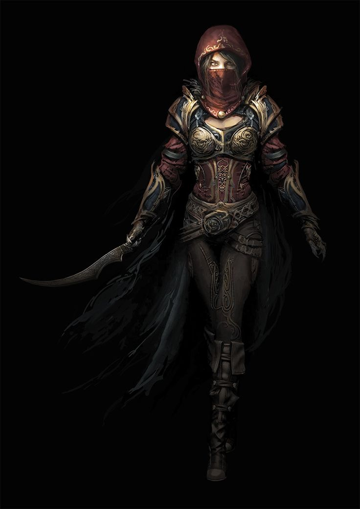 Female assassin concept design, Joemel Requeza on ArtStation at https://www.artstation.com/artwork/qJykn