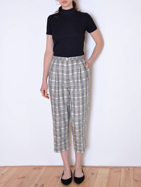 80's plaid pants, beige gray and white checked trousers, grunge cropped high waisted culottes size small, silk blend