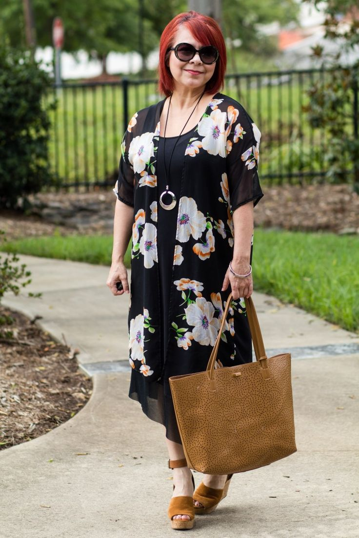 Floral Kimono, Black midi dress, Marc Fisher Hadeya Wedges, Budget Fashion Blog, Fashion over 40, Summer Style for women, Red Hair, How to wear a kimono