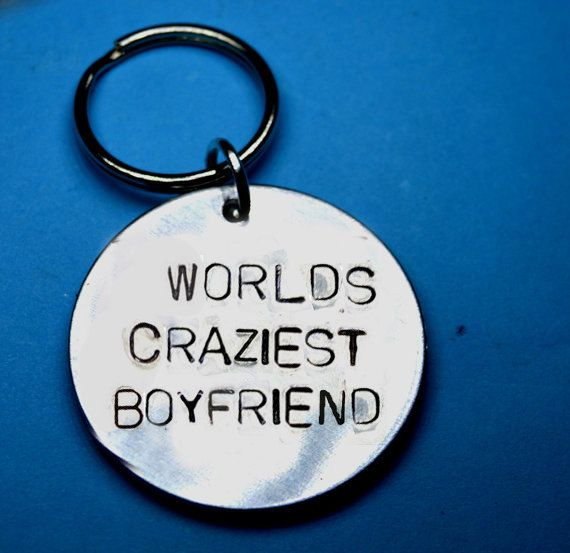Boyfriend gift, Anniversary gift, craziest, Love gift, UK, Romantic gift, Personalised gift, Handstamped keyring, Customised keychain, Love