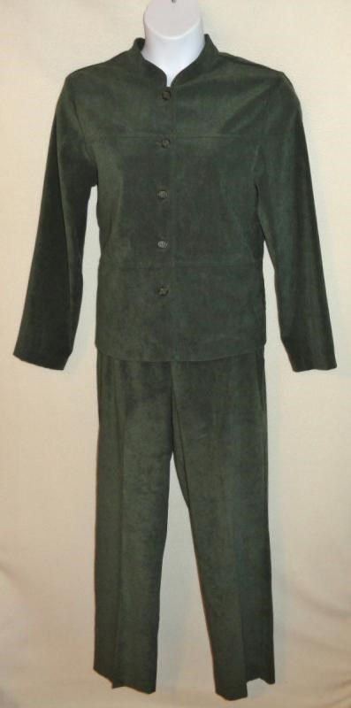 12.82$  Buy here - http://virph.justgood.pw/vig/item.php?t=73gyy336397 - Womens 2pc Outfit SAG HARBOR Green Soft Nap Shirt Pants Sz 14