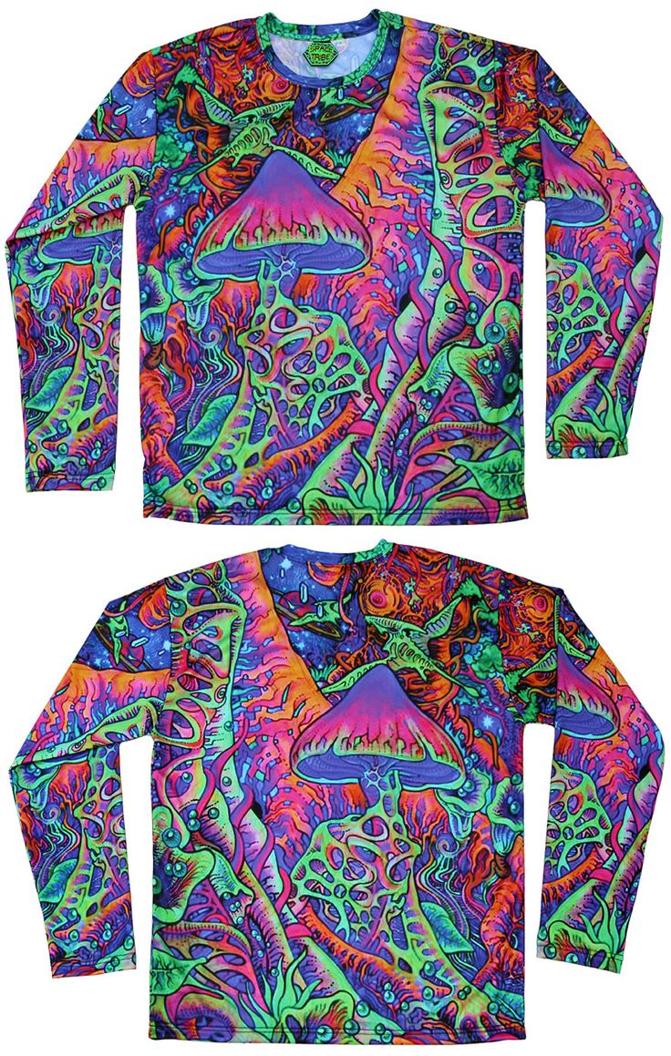 "Sublime L/S T : Psy Shroom  Fully printed long sleeve T shirt.  This shirt is an ""All Over"" printed T shirt that will really grab people's attention.  Printed using sublimation printing on a high quality polyester / Dri-Fit blended shirt.  This allows for extremely vibrant colors that will never fade away no matter how many times it gets washed.  Fabric is 100% Polyester/Dri-fit.  Artwork by Felix Stöver"