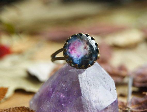 Galaxy Nebula Space crown ring Antique brass by InviolaJewerly