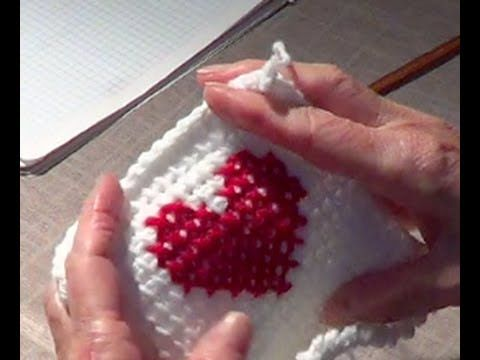 Cross Stitch Heart Over Afghan (Tunisian)