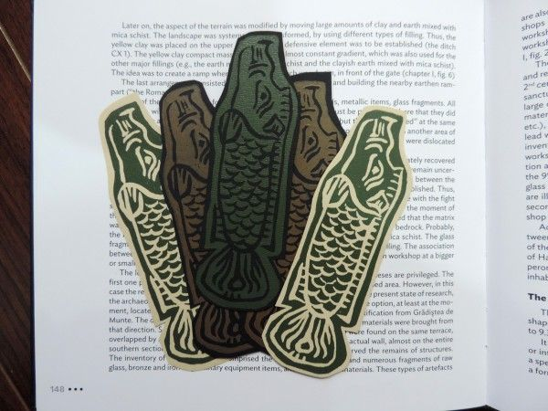 (un)intentional contemporary art in Transylvania: Linocut bookmark - fish-boar symbol of the Getae