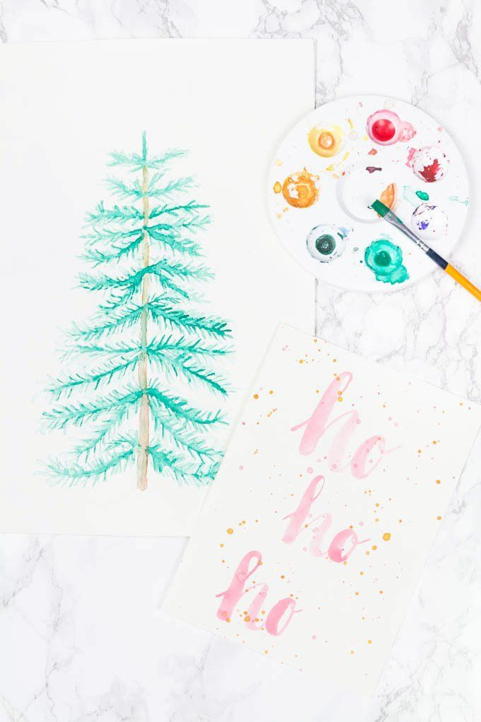 4 Weihnachtliche Aquarellbilder Diy Deko Basteln Kunsthandwerk