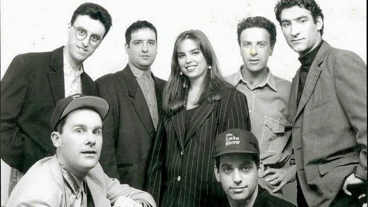 The Late Show team (back row from left) Tony Martin, Mick Molloy, Jane Kennedy, Santo Cilauro, Jason Stephens and (front) Tom Gleisner and Rob Sitch.