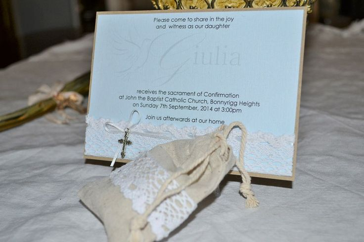 GIULIA - pale blue and burlap with lace detail and ivory satin ribbon. Pouch can store chocolates or sugared almonds for bomboniere