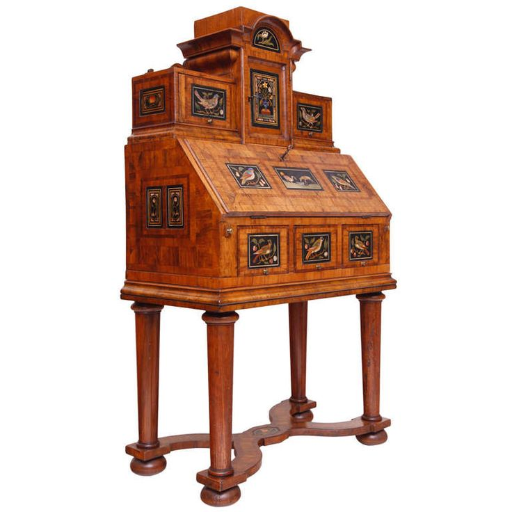 Baroque Cabinet Desk with Pietra Dura Inlays | From a unique collection of antique and modern cabinets at https://www.1stdibs.com/furniture/storage-case-pieces/cabinets/